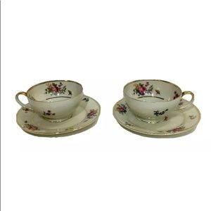 2 Sets Of Gold Rim Vintage Tea/Coffee Cups